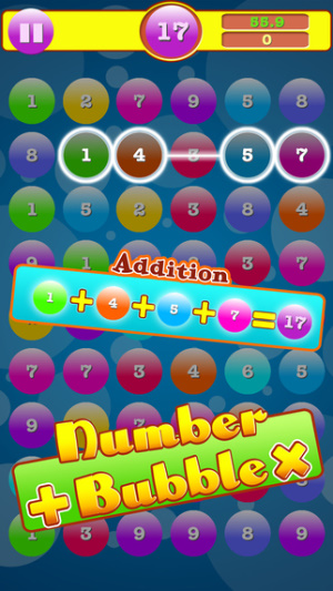 iOS限免、限時免費軟體app遊戲-Addition & Multiplication Number Bubbles 1